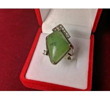 Silver ring inset stone