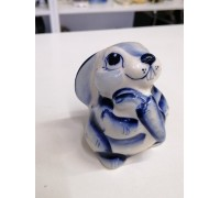 Bunny with carrot Gzhel porcelain