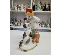 Girl with a dog Kiev porcelain factory 50s